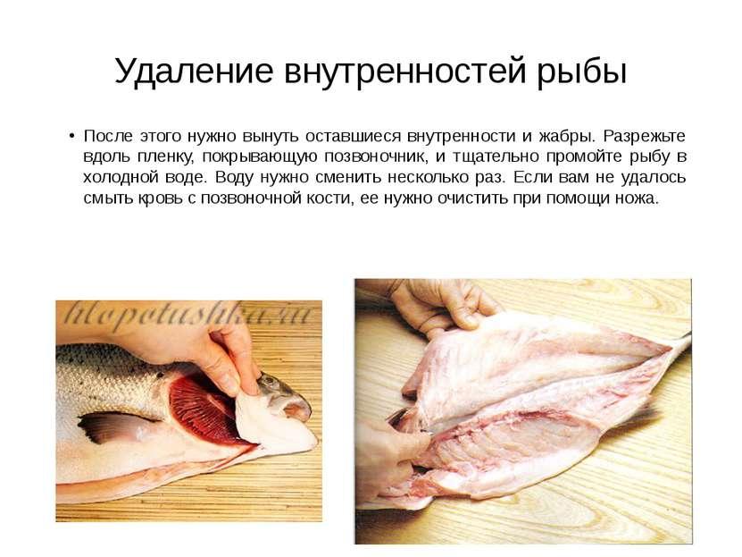 Удаление внутренностей рыбы После этого нужно вынуть оставшиеся внутренности ...