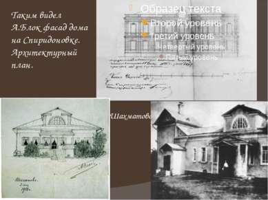 Таким видел А.Блок фасад дома на Спиридоновке. Архитектурный план. Шахматово.