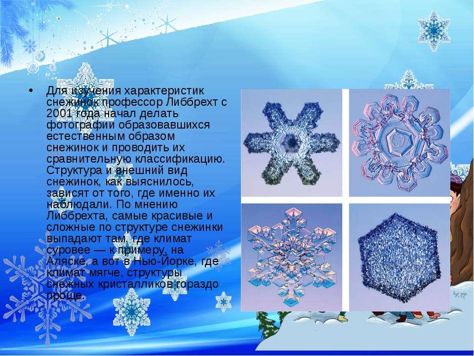 Для изучения характеристик снежинок профессор Либбрехт с 2001 года начал дела...