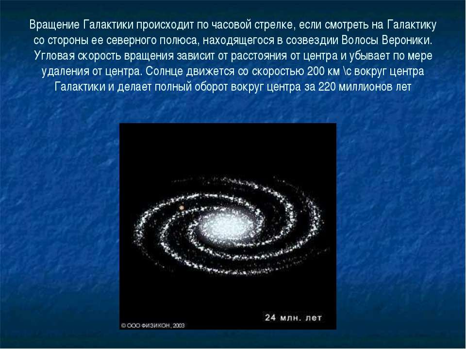 Вращение Галактики происходит по часовой стрелке, если смотреть на Галактику ...