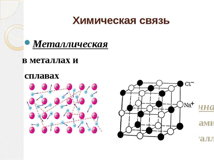 Химическая связь Металлическая в металлах и сплавах Ионная между ионами метал...