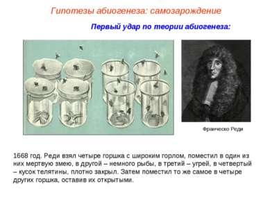 Первый удар по теории абиогенеза: Франческо Реди 1668 год. Реди взял четыре г...