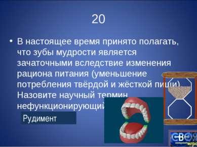 20 В настоящее время принято полагать, что зубы мудрости является зачаточными...
