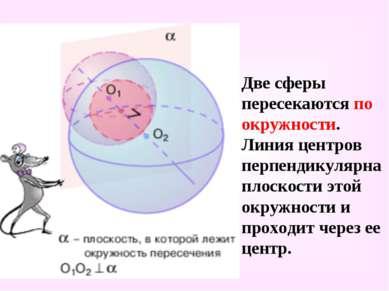 Две сферы пересекаются по окружности. Линия центров перпендикулярна плоскости...