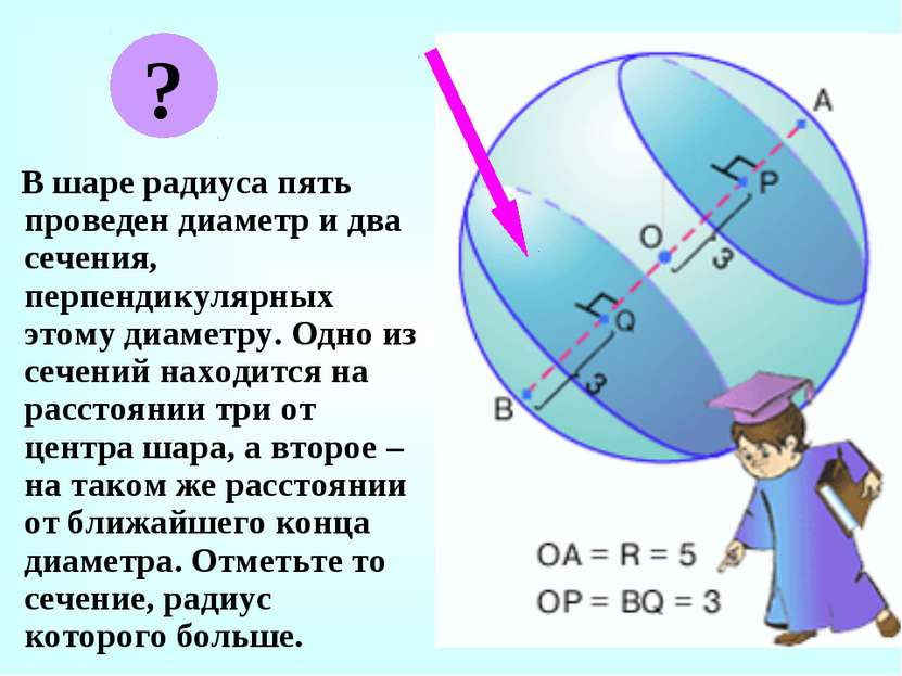 В шаре радиуса пять проведен диаметр и два сечения, перпендикулярных этому ди...