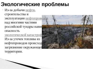 Из-за добычи нефти, строительства и эксплуатации нефтепроводов над многими ча...