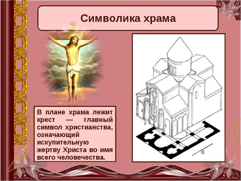 В плане храма лежит крест — главный символ христианства, означающий искупител...