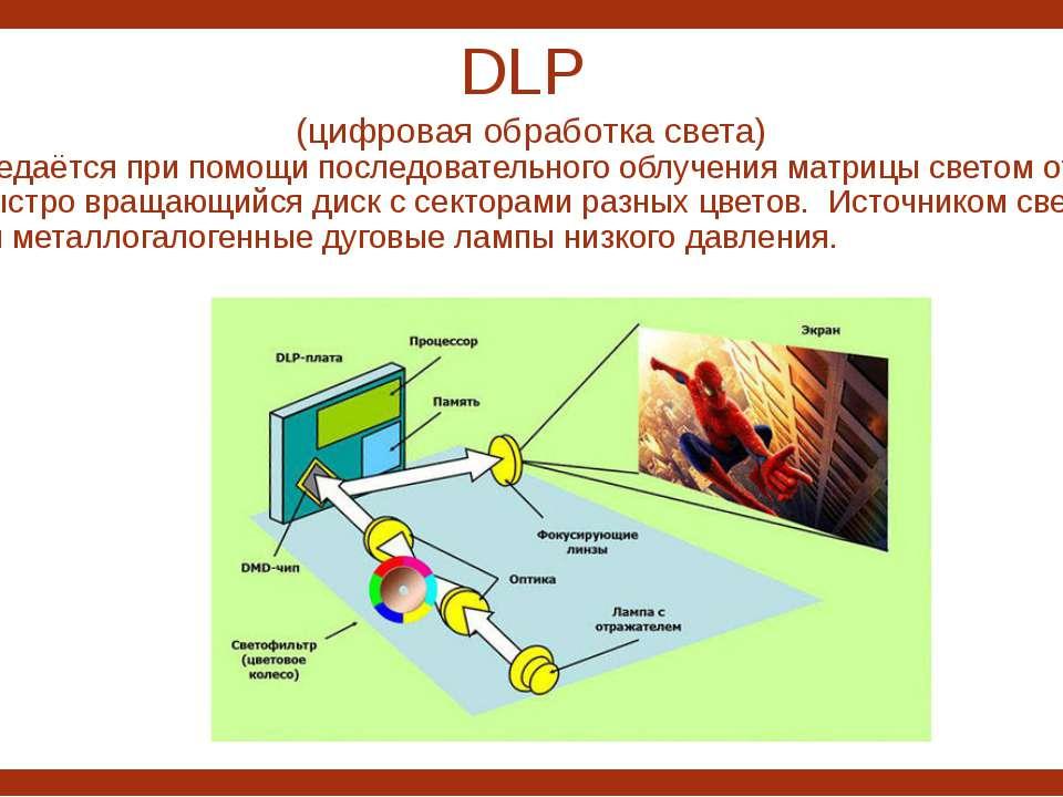 DLP (цифровая обработка света) Цвет передаётся при помощи последовательного о...