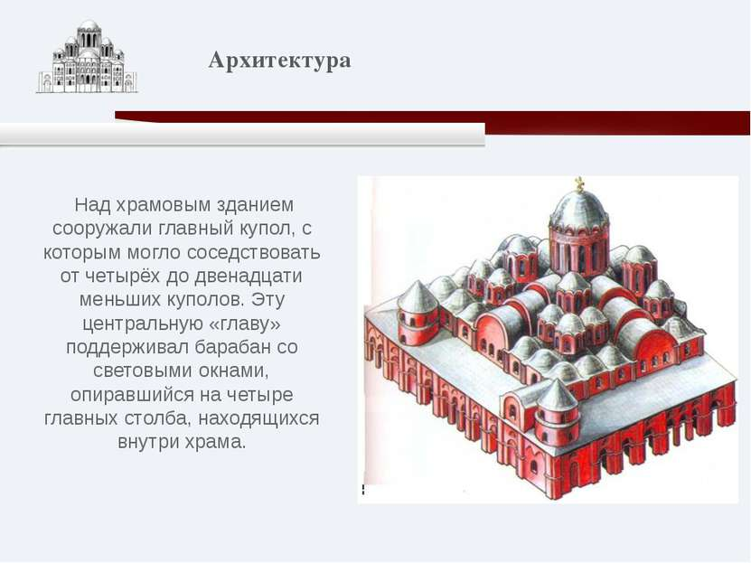 Над храмовым зданием сооружали главный купол, с которым могло соседствовать о...