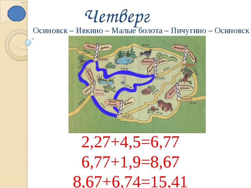 Четверг 2,27+4,5=6,77 6,77+1,9=8,67 8,67+6,74=15,41 Осиновск – Ивкино – Малые...