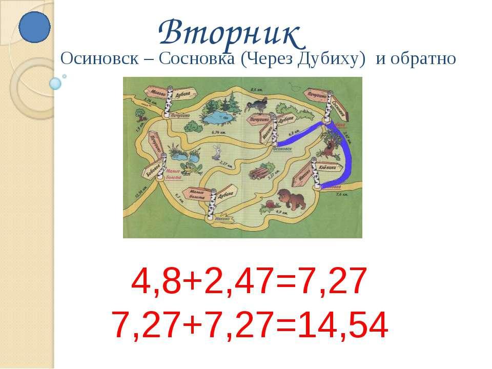 Вторник 4,8+2,47=7,27 7,27+7,27=14,54 Осиновск – Сосновка (Через Дубиху) и об...