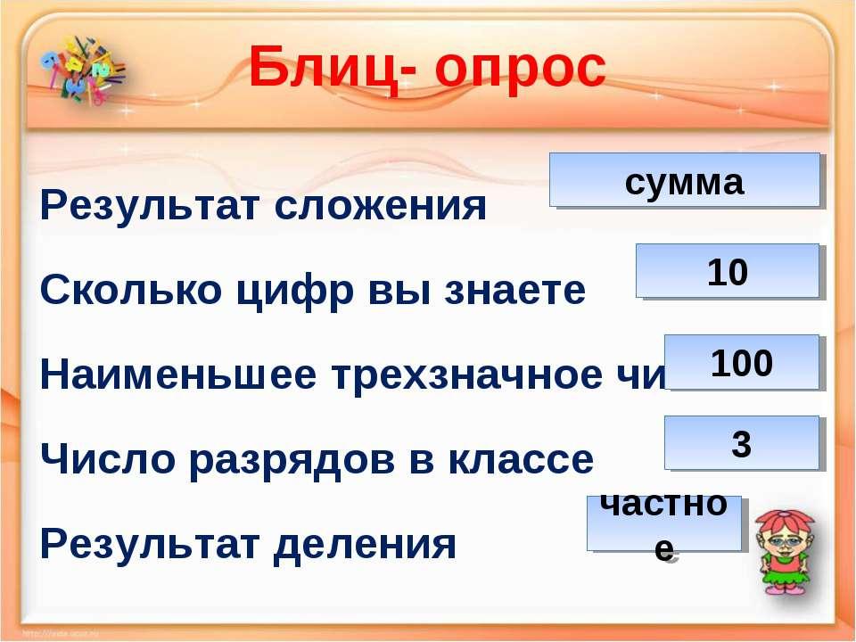 Блиц- опрос Результат сложения Сколько цифр вы знаете Наименьшее трехзначное ...