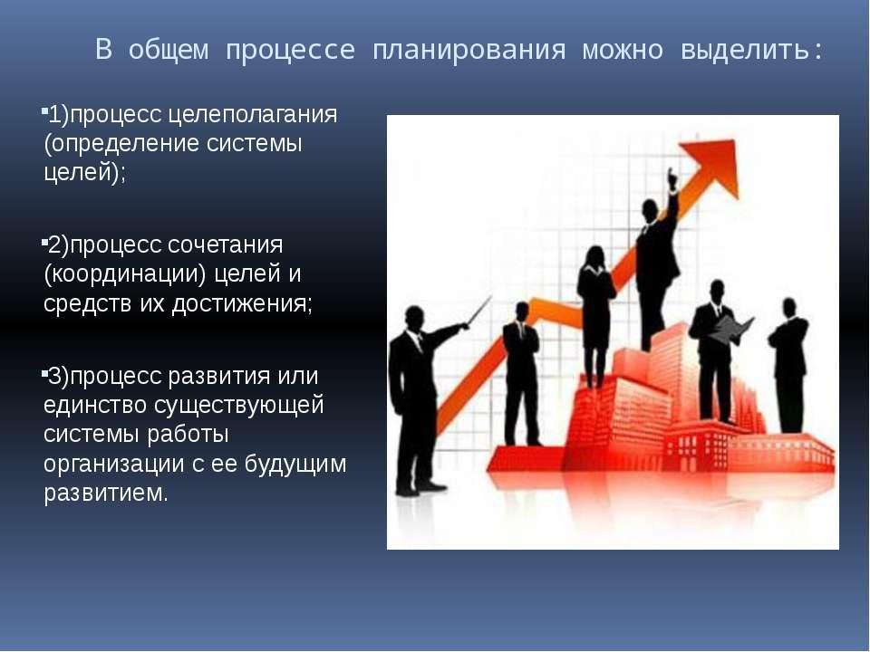 В общем процессе планирования можно выделить: 1)процесс целеполагания (опреде...