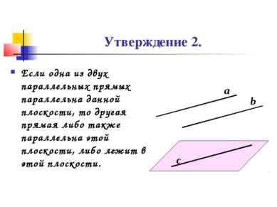 Утверждение 2. Если одна из двух параллельных прямых параллельна данной плоск...