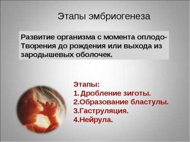 Развитие организма с момента оплодо- Творения до рождения или выхода из зарод...