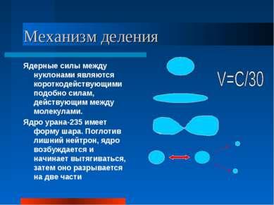 Механизм деления Ядерные силы между нуклонами являются короткодействующими по...