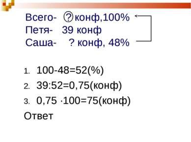 Всего- ? конф,100% Петя- 39 конф Саша- ? конф, 48% 100-48=52(%) 39:52=0,75(ко...