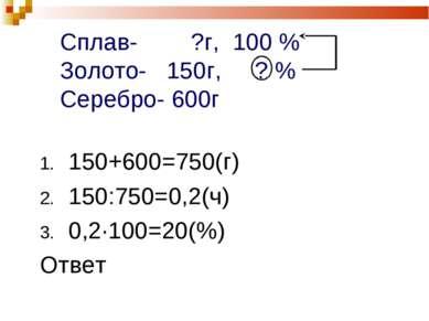 Сплав- ?г, 100 % Золото- 150г, ? % Серебро- 600г 150+600=750(г) 150:750=0,2(ч...