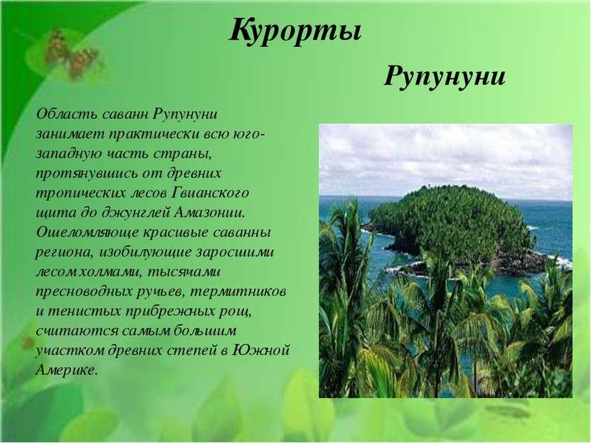 Курорты Область саванн Рупунуни занимает практически всю юго-западную часть с...