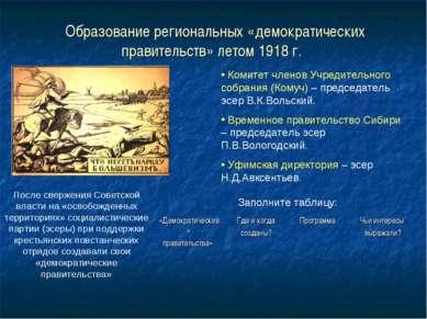 Образование региональных «демократических правительств» летом 1918 г. Комитет...