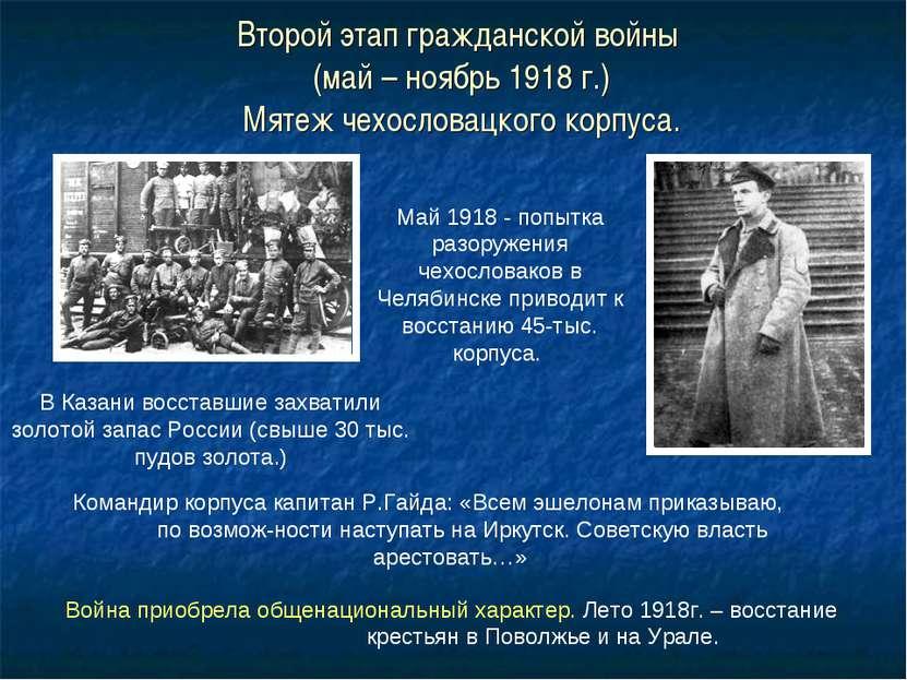 Второй этап гражданской войны (май – ноябрь 1918 г.) Мятеж чехословацкого кор...