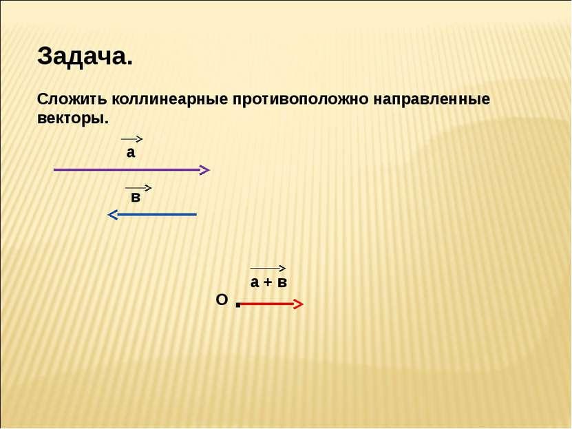 Задача. Сложить коллинеарные противоположно направленные векторы. а в О а + в .