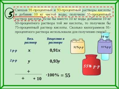0,93y Смешав 91-процентный и 93-процентный растворы кислоты и добавив 10 кг ч...