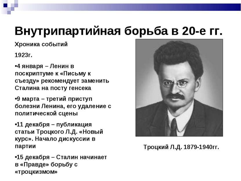 Внутрипартийная борьба в 20-е гг. Хроника событий 1923г. 4 января – Ленин в п...