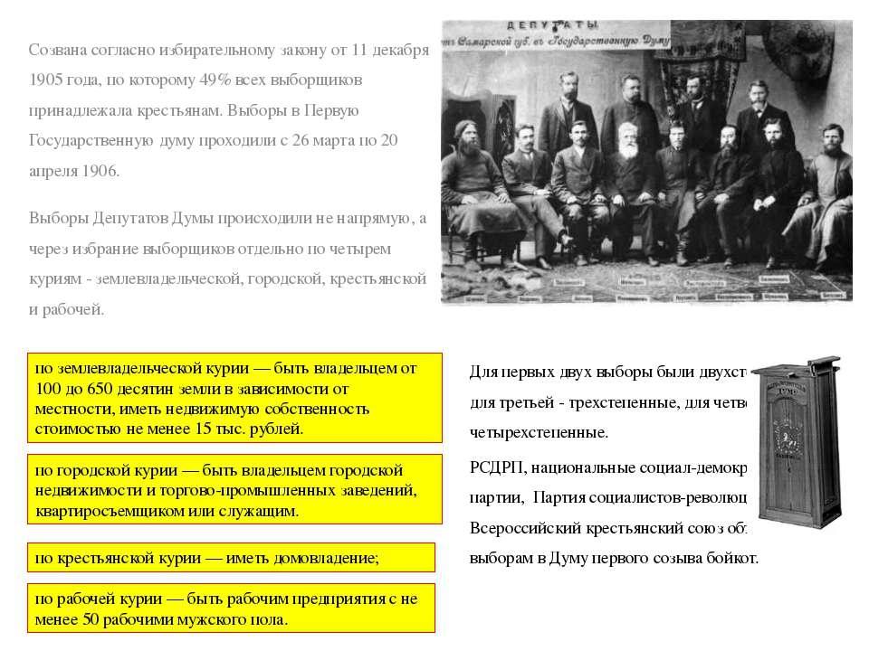 Созвана согласно избирательному закону от 11 декабря 1905 года, по которому 4...