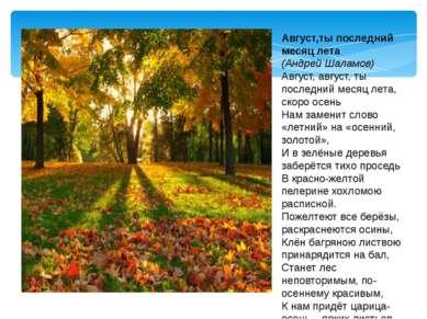 Август,ты последний месяц лета (Андрей Шаламов) Август, август, ты последний ...