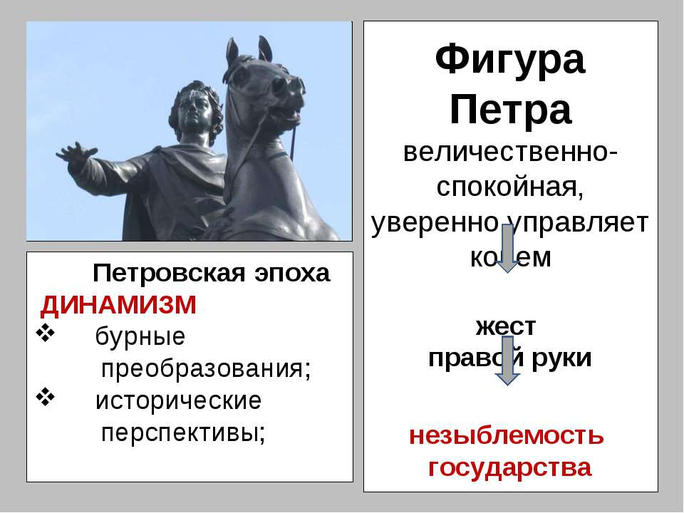 Фигура Петра величественно-спокойная, уверенно управляет конем жест правой ру...