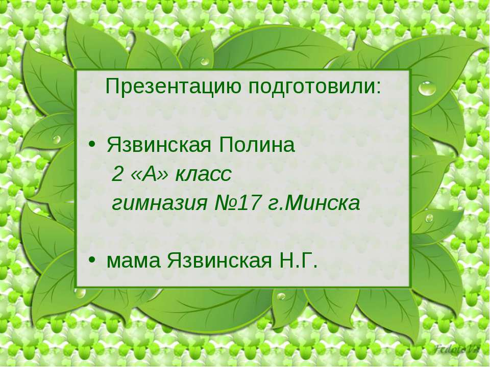 Презентацию подготовили: Язвинская Полина 2 «А» класс гимназия №17 г.Минска м...