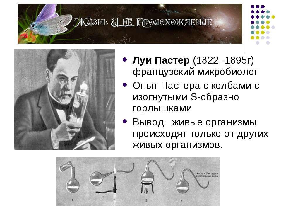 Луи Пастер (1822–1895г) французский микробиолог Опыт Пастера с колбами с изог...