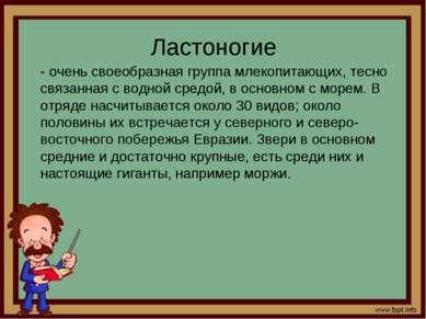 Ластоногие - очень своеобразная группа млекопитающих, тесно связанная с водно...