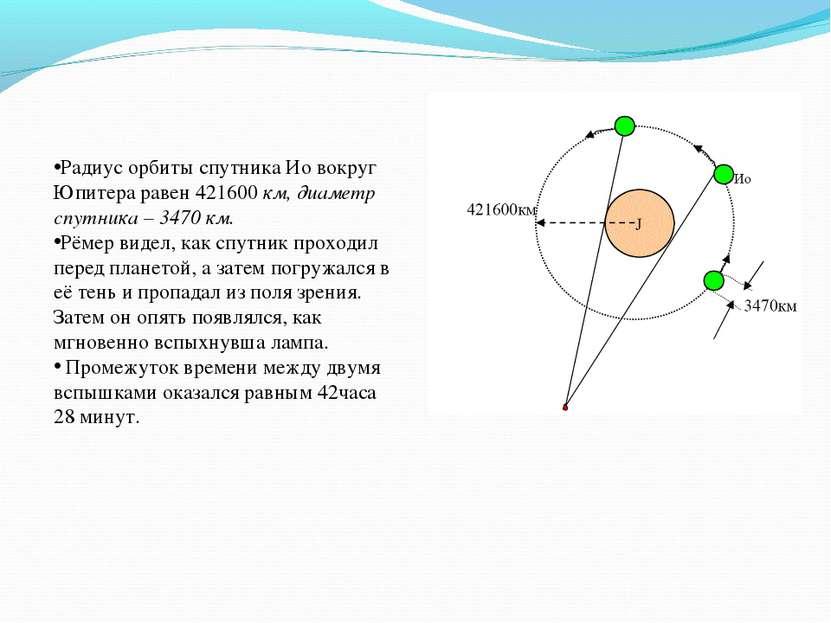 Радиус орбиты спутника Ио вокруг Юпитера равен 421600 км, диаметр спутника – ...