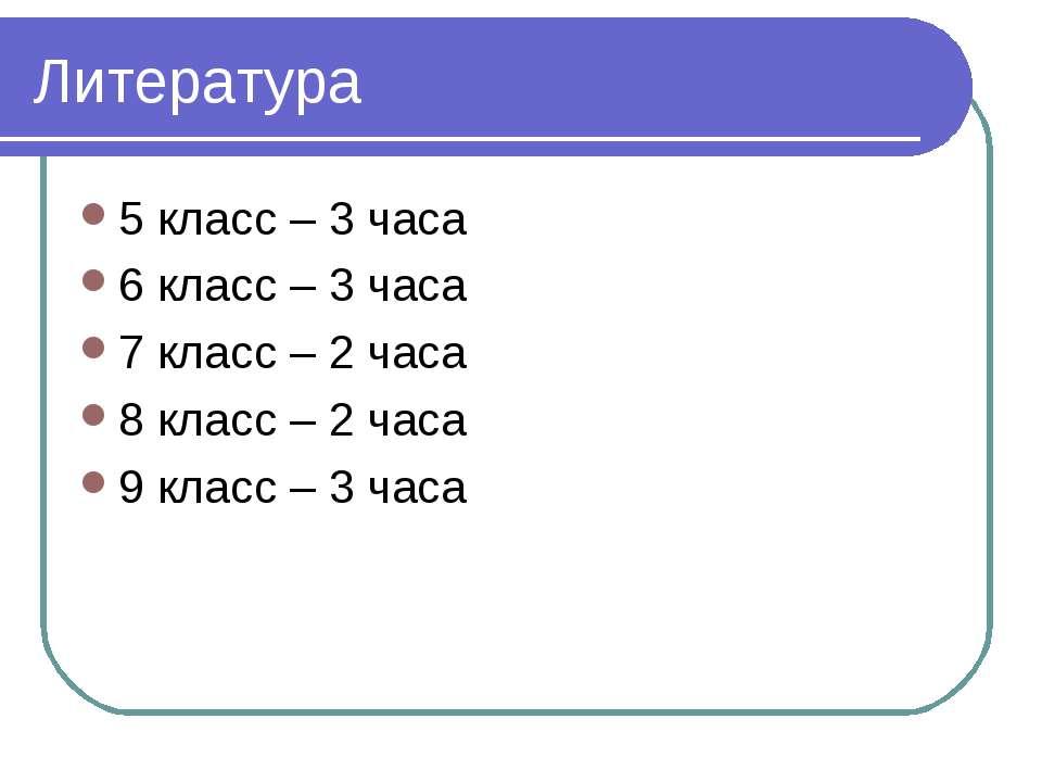 Литература 5 класс – 3 часа 6 класс – 3 часа 7 класс – 2 часа 8 класс – 2 час...
