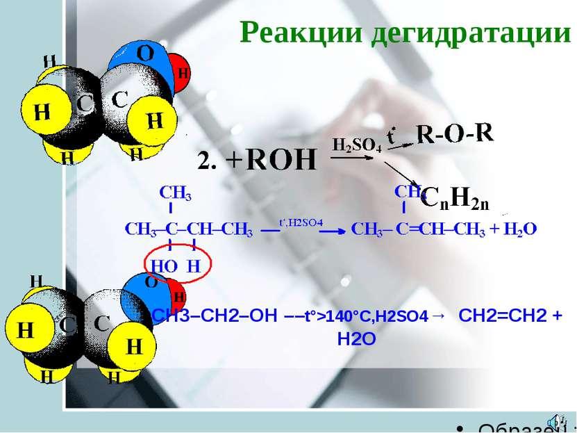 Реакции дегидратации CH3–CH2–OH ––t°>140°C,H2SO4→ CH2=CH2 + H2O