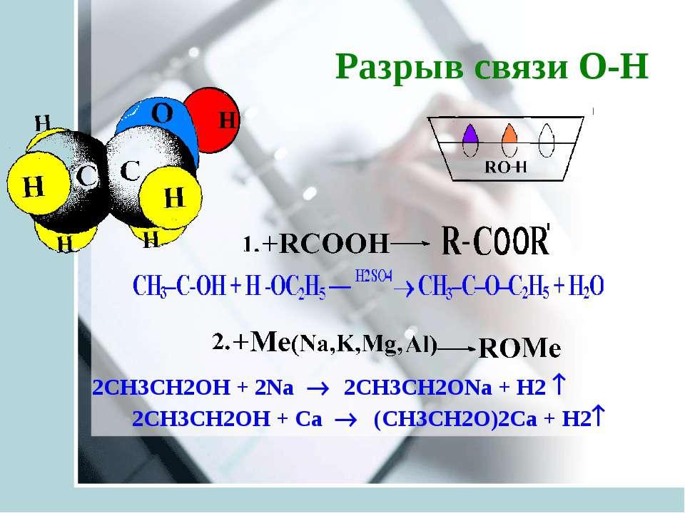 Разрыв связи О-Н 2СH3CH2OH + 2Na ® 2СH3CH2ONa + H2 2СH3CH2OH + Сa ® (СH3CH2O)...