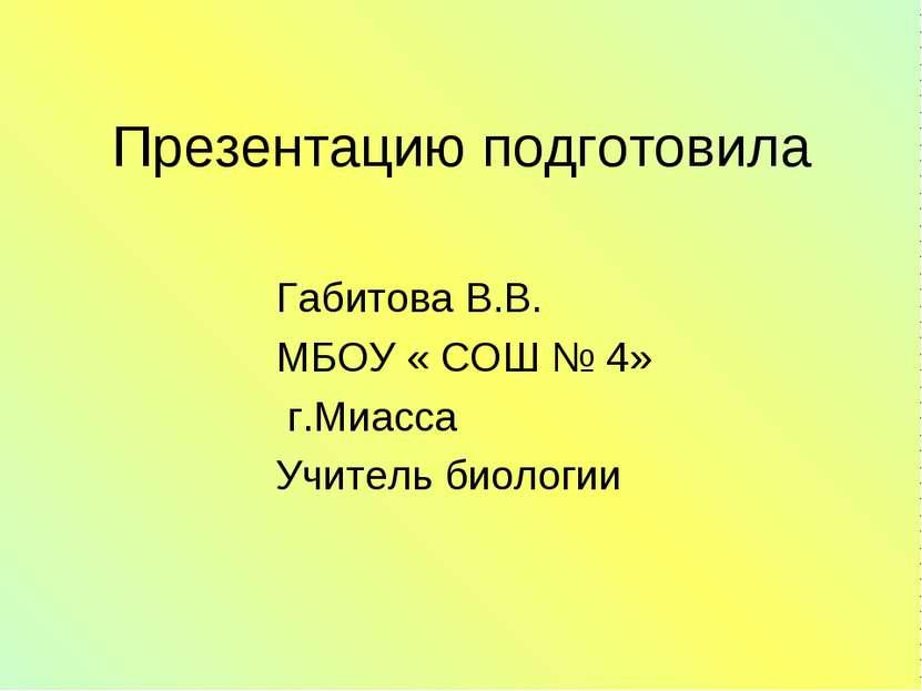 Презентацию подготовила Габитова В.В. МБОУ « СОШ № 4» г.Миасса Учитель биологии