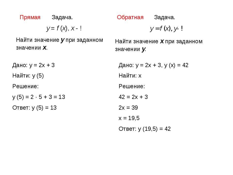 Задача. у = f (x), x - ! Найти значение у при заданном значении х. Задача. у ...