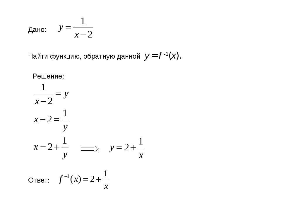 Дано: Найти функцию, обратную данной у = f -1(x). Решение: Ответ: