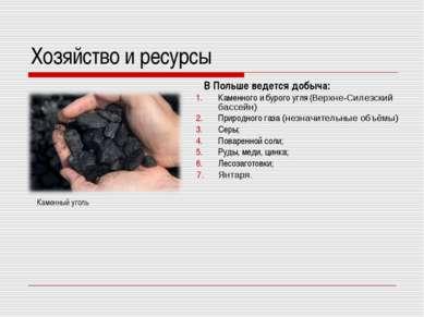 Хозяйство и ресурсы В Польше ведется добыча: Каменного и бурого угля (Верхне-...