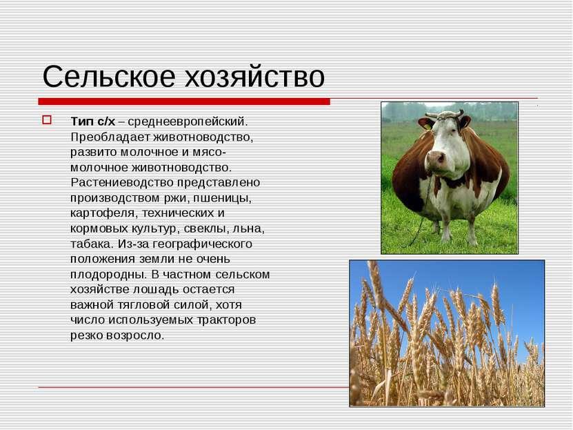 Сельское хозяйство Тип с/х – среднеевропейский. Преобладает животноводство, р...