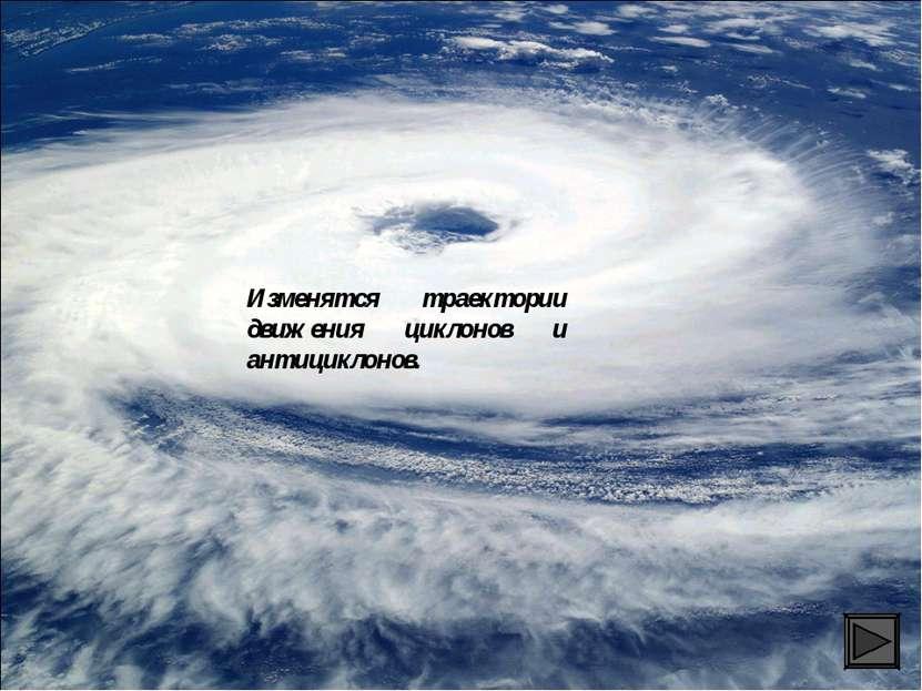 Изменятся траектории движения циклонов и антициклонов.