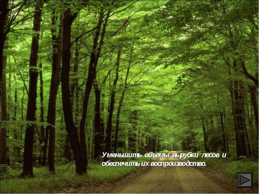 Уменьшить объемы вырубки лесов и обеспечить их воспроизводство.