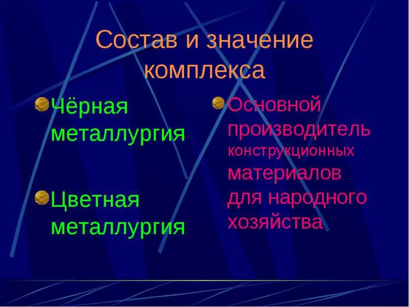 Состав и значение комплекса Чёрная металлургия Цветная металлургия Основной п...