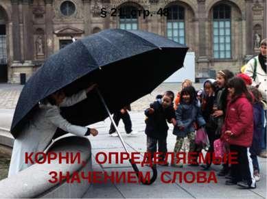 КОРНИ, ОПРЕДЕЛЯЕМЫЕ ЗНАЧЕНИЕМ СЛОВА § 21. стр. 48 Учитель русского языка и ли...