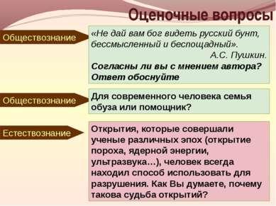 Оценочные вопросы Обществознание «Не дай вам бог видеть русский бунт, бессмыс...