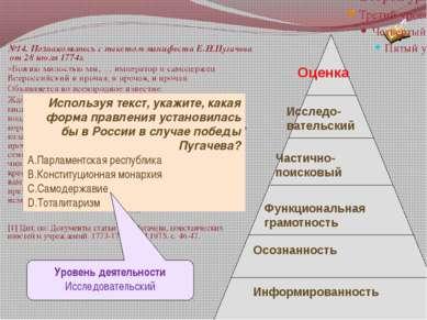 №14. Познакомьтесь с текстом манифеста Е.И.Пугачева от 28 июля 1774г. «Божию ...
