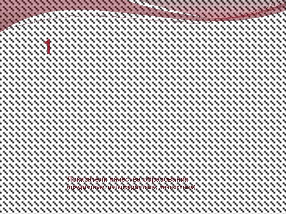 Показатели качества образования (предметные, метапредметные, личностные) 1